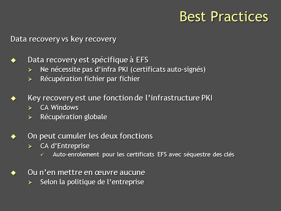 Best Practices Data recovery vs key recovery