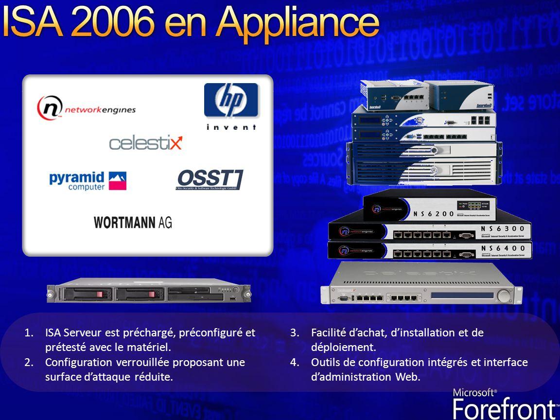 ISA 2006 en Appliance ISA Serveur est préchargé, préconfiguré et prétesté avec le matériel.