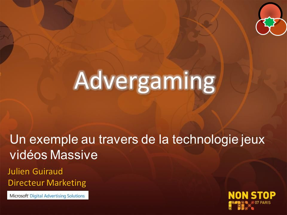 Advergaming Un exemple au travers de la technologie jeux vidéos Massive.