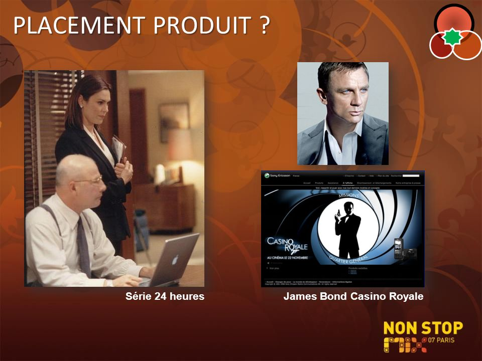 PLACEMENT PRODUIT Série 24 heures James Bond Casino Royale
