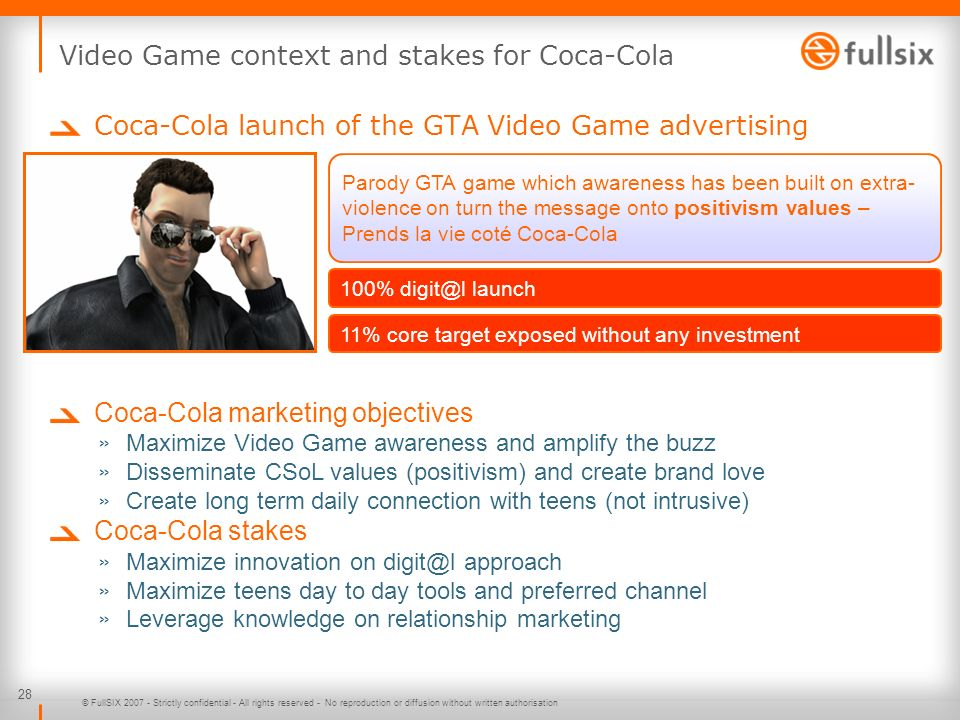 Video Game context and stakes for Coca-Cola