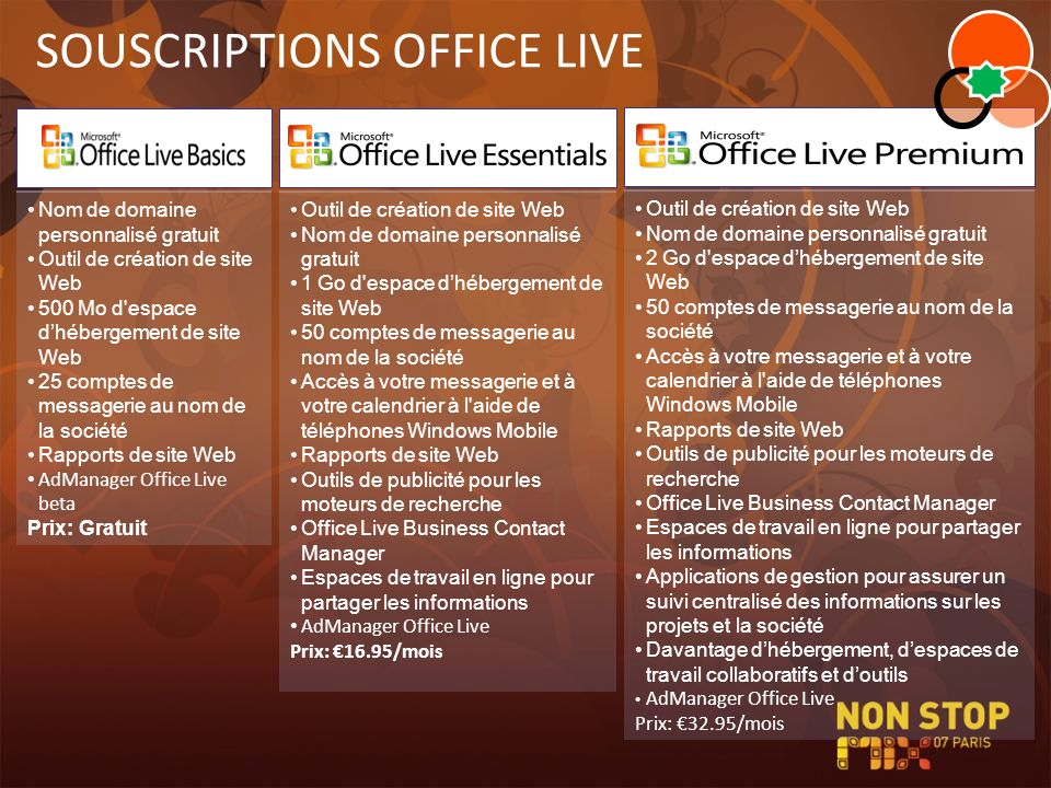 SOUSCRIPTIONS OFFICE LIVE