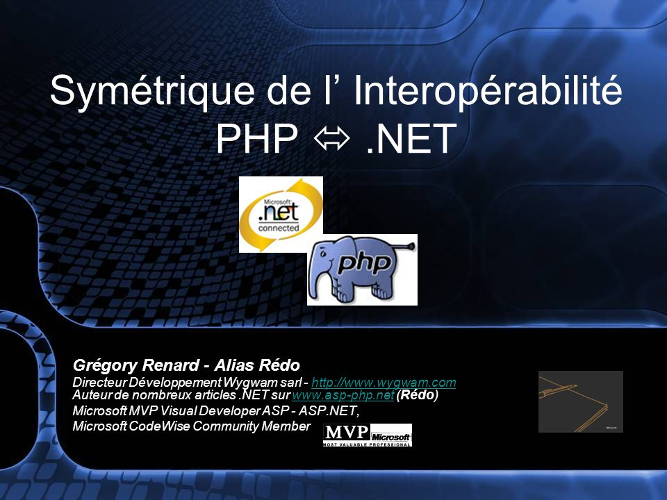 Symétrique de l' Interopérabilité PHP  .NET
