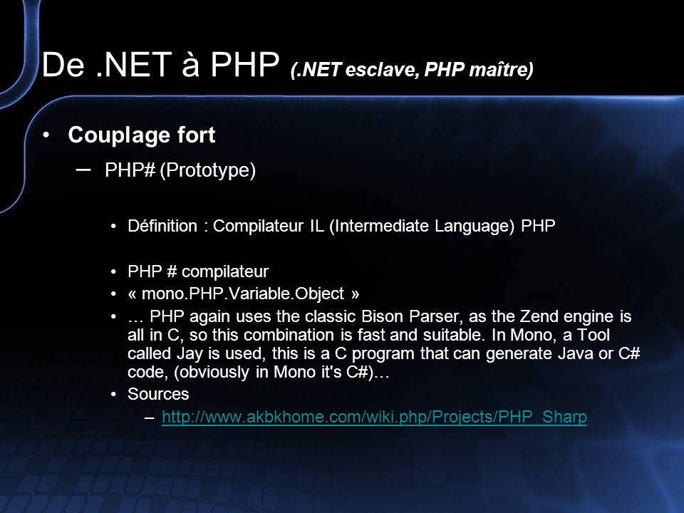 De .NET à PHP (.NET esclave, PHP maître)