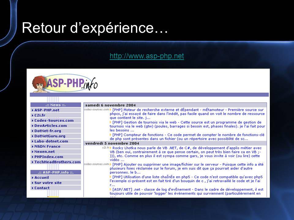 Retour d'expérience… http://www.asp-php.net
