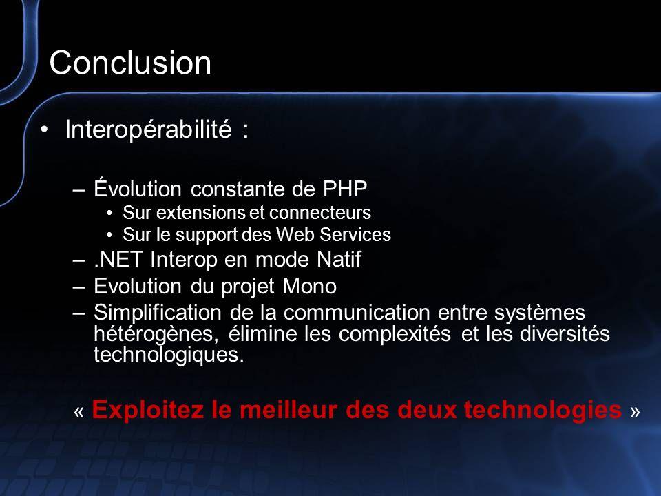 Conclusion Interopérabilité : Évolution constante de PHP