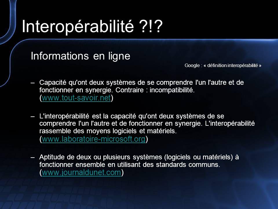 Interopérabilité ! Informations en ligne