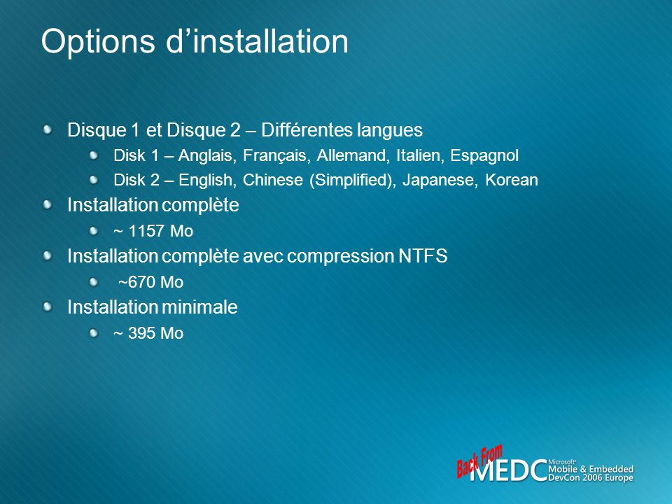 Options d'installation