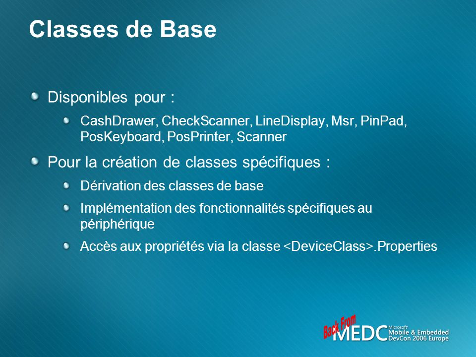 Back From Classes de Base Disponibles pour :