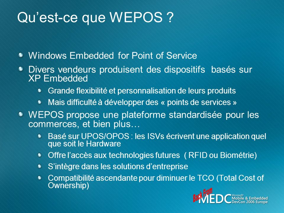 Back From Qu'est-ce que WEPOS Windows Embedded for Point of Service