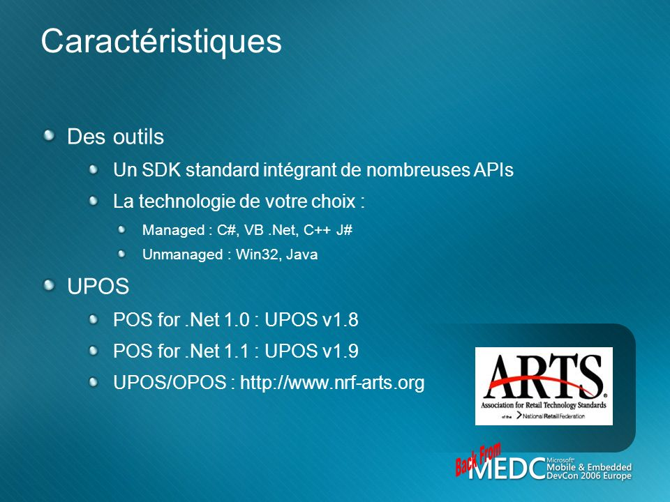 Back From Caractéristiques Des outils UPOS