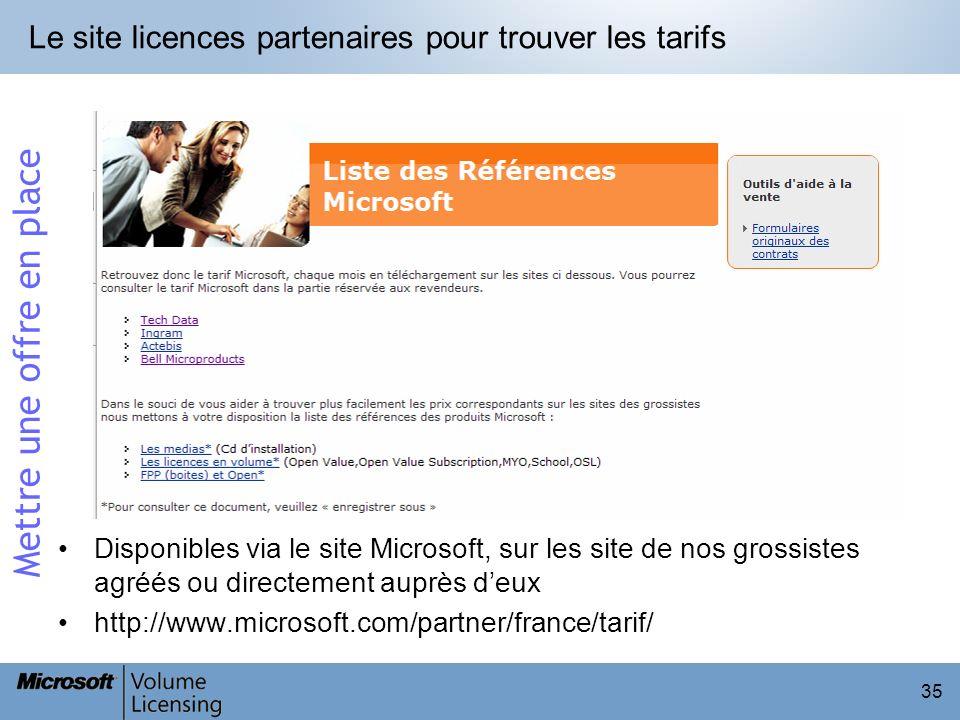 Le site licences partenaires pour trouver les tarifs