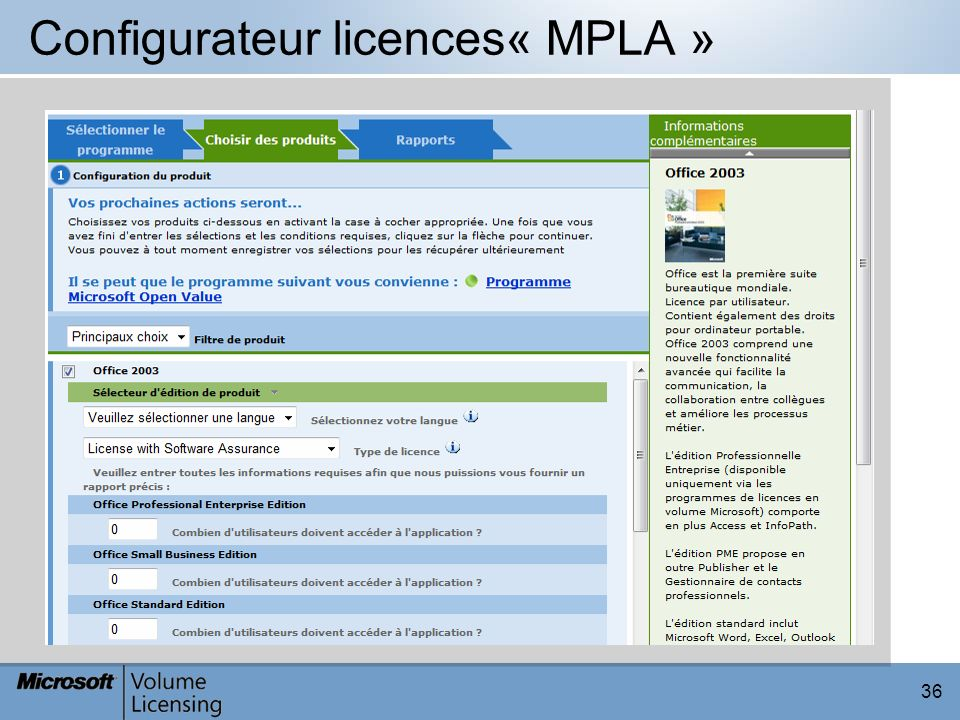 Configurateur licences« MPLA »