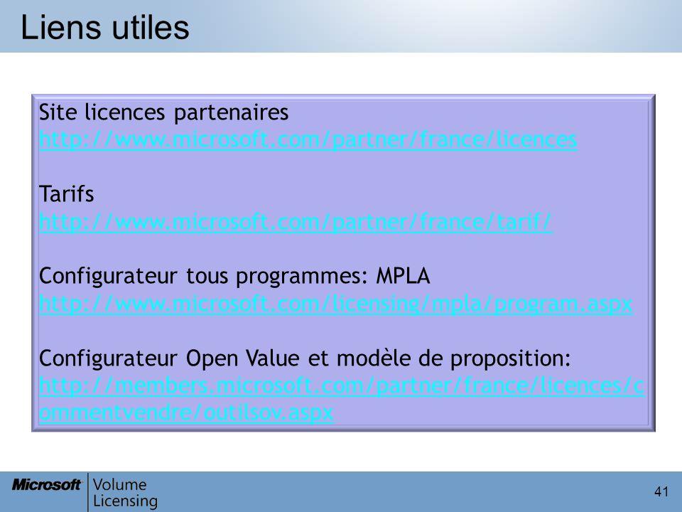 Liens utiles Site licences partenaires