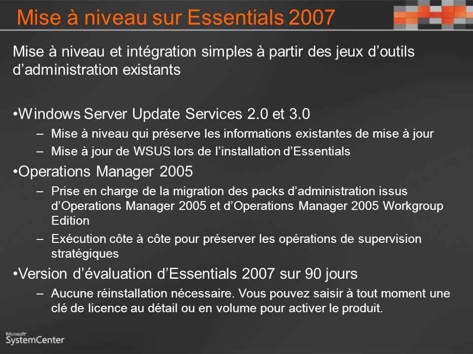 Mise à niveau sur Essentials 2007