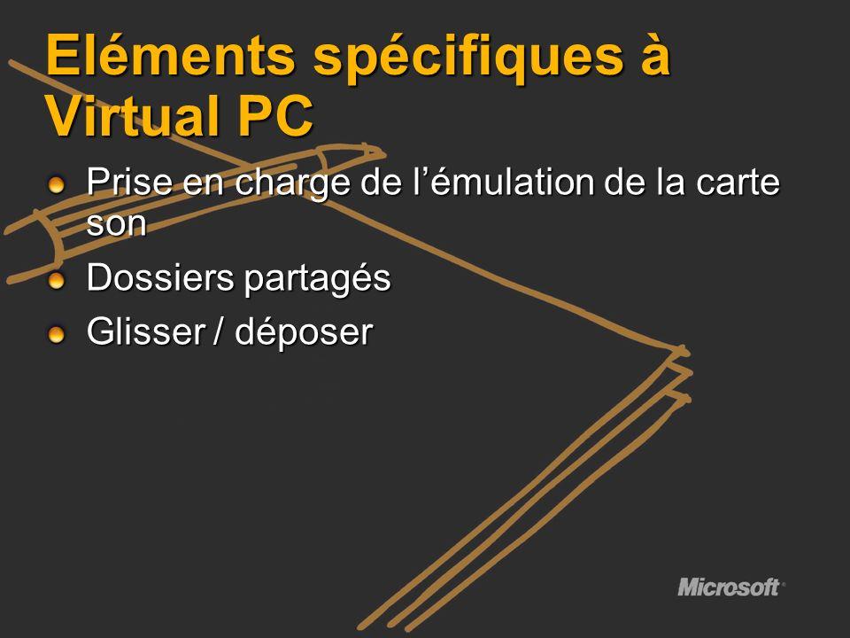 Eléments spécifiques à Virtual PC