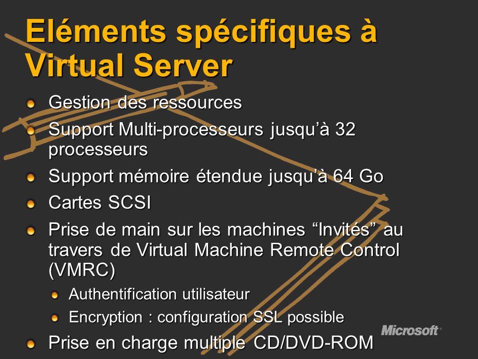 Eléments spécifiques à Virtual Server