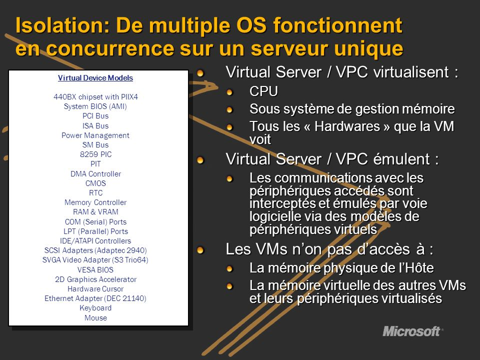 Isolation: De multiple OS fonctionnent en concurrence sur un serveur unique