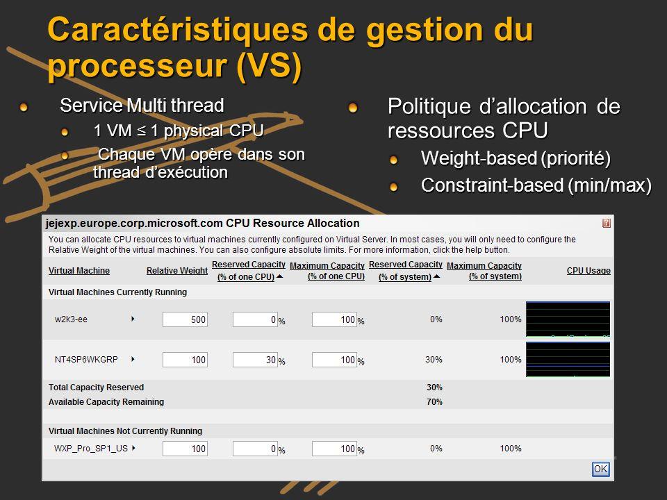 Caractéristiques de gestion du processeur (VS)