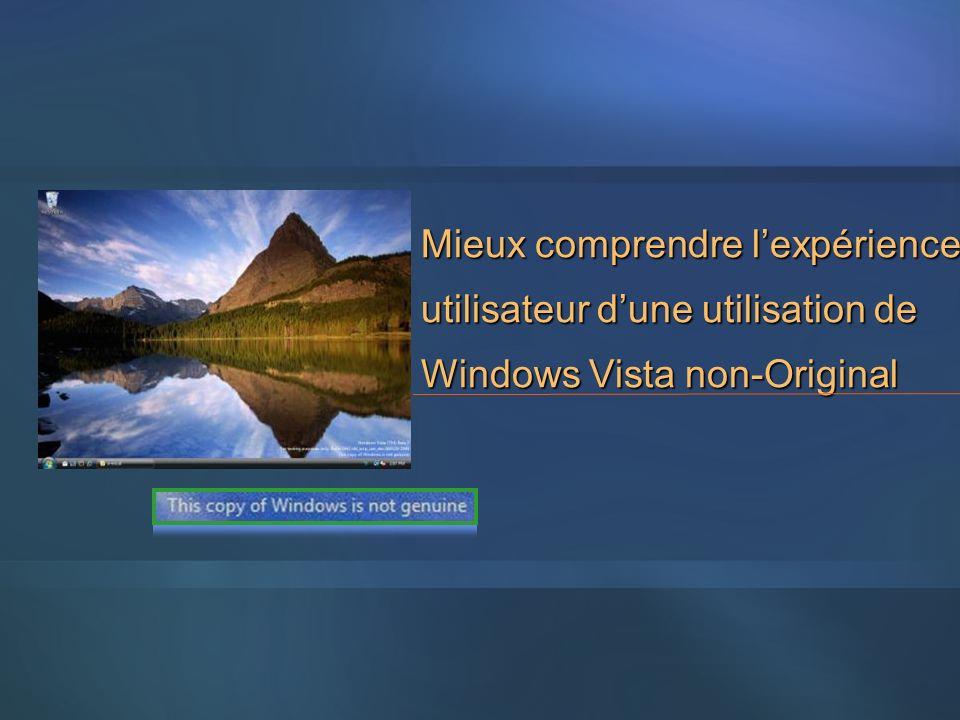 Mieux comprendre l'expérience utilisateur d'une utilisation de Windows Vista non-Original
