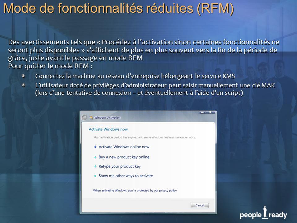 Mode de fonctionnalités réduites (RFM)