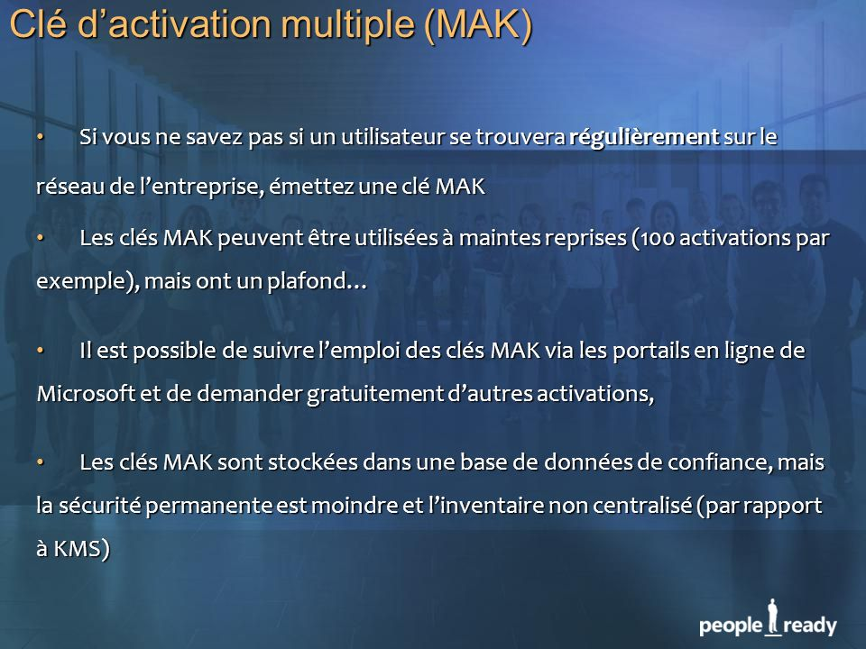 Clé d'activation multiple (MAK)