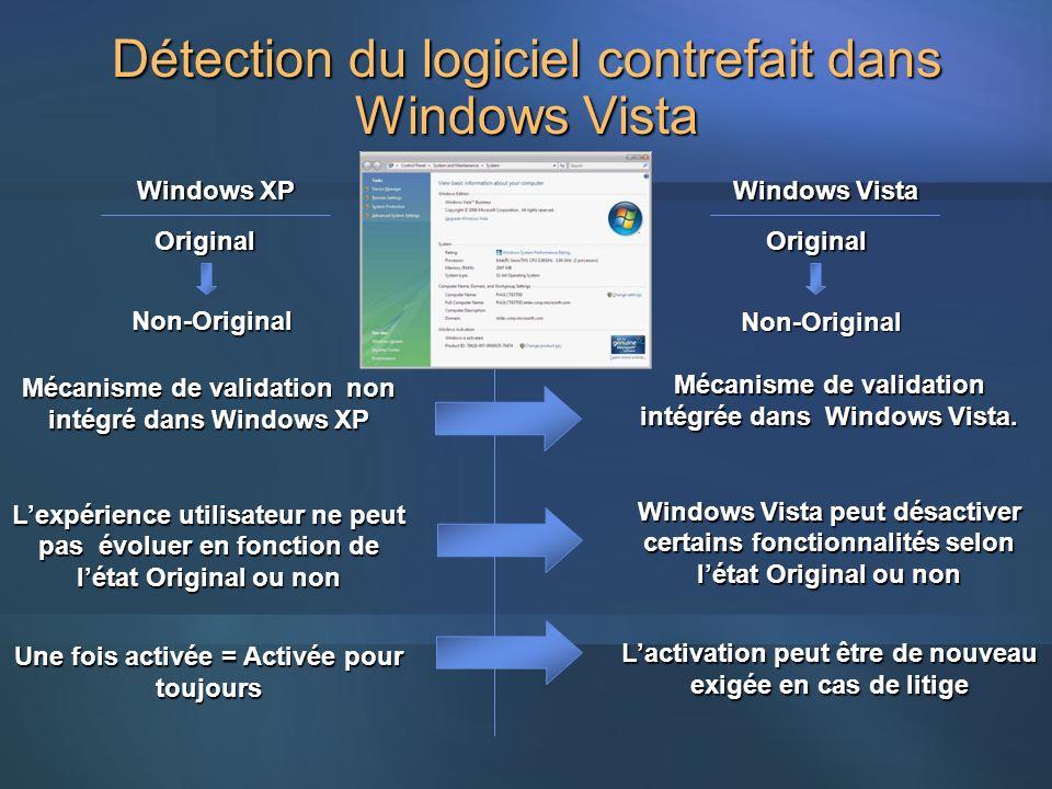Détection du logiciel contrefait dans Windows Vista