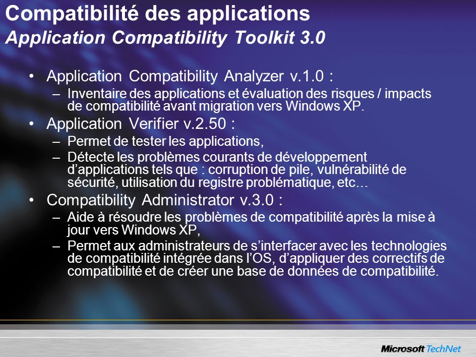 Compatibilité des applications Application Compatibility Toolkit 3.0
