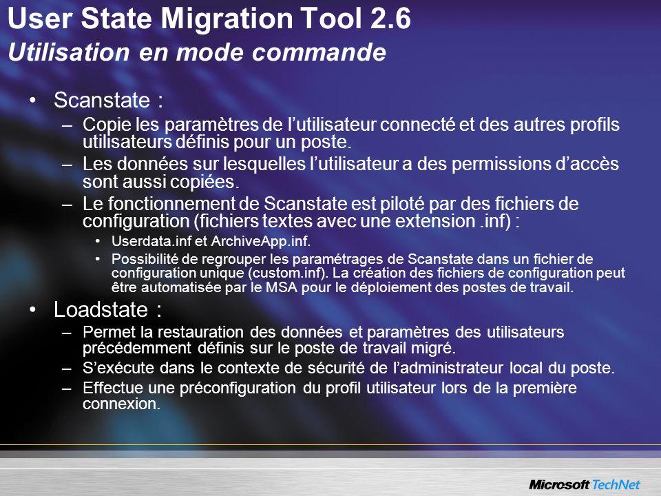 User State Migration Tool 2.6 Utilisation en mode commande
