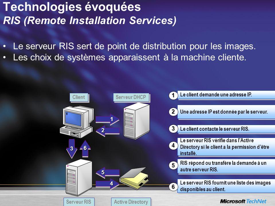Technologies évoquées RIS (Remote Installation Services)
