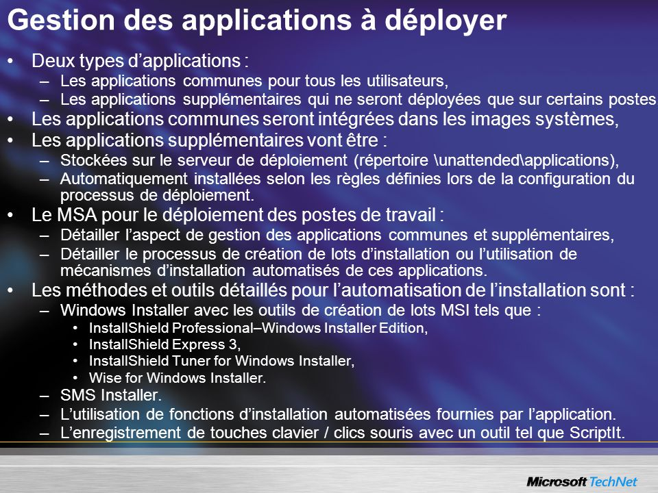 Gestion des applications à déployer