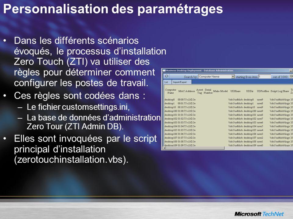 Personnalisation des paramétrages
