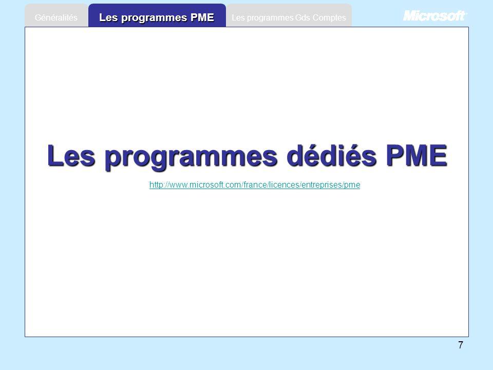 Les programmes dédiés PME