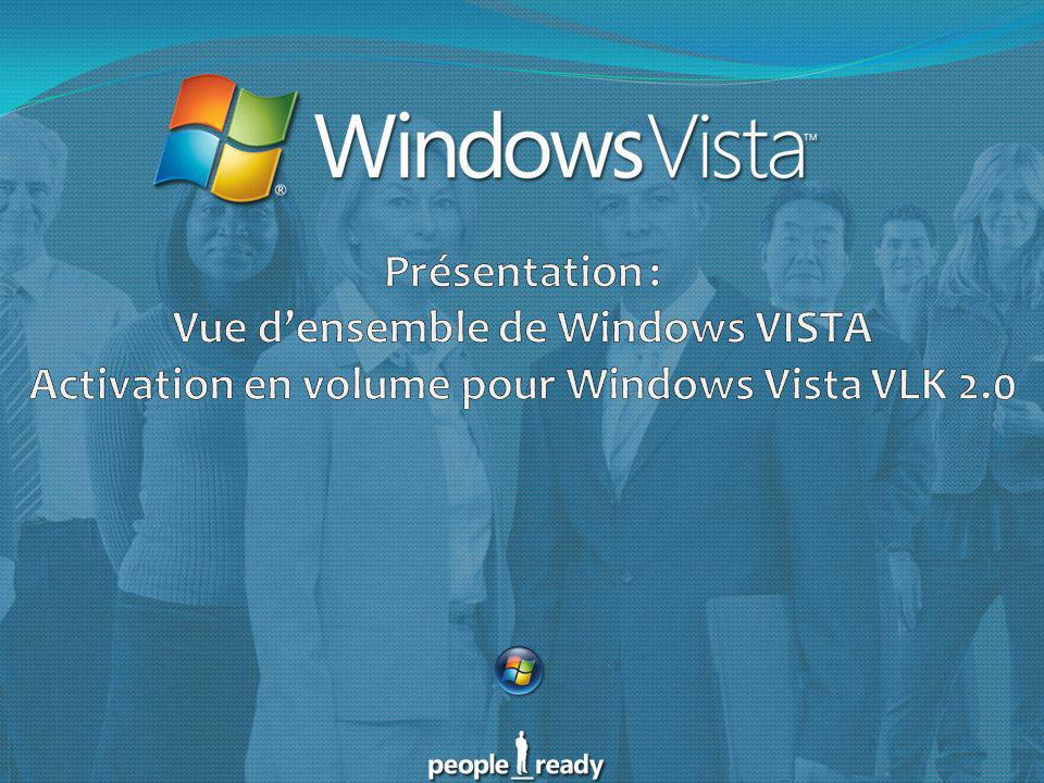 Présentation : Vue d'ensemble de Windows VISTA Activation en volume pour Windows Vista VLK 2.0