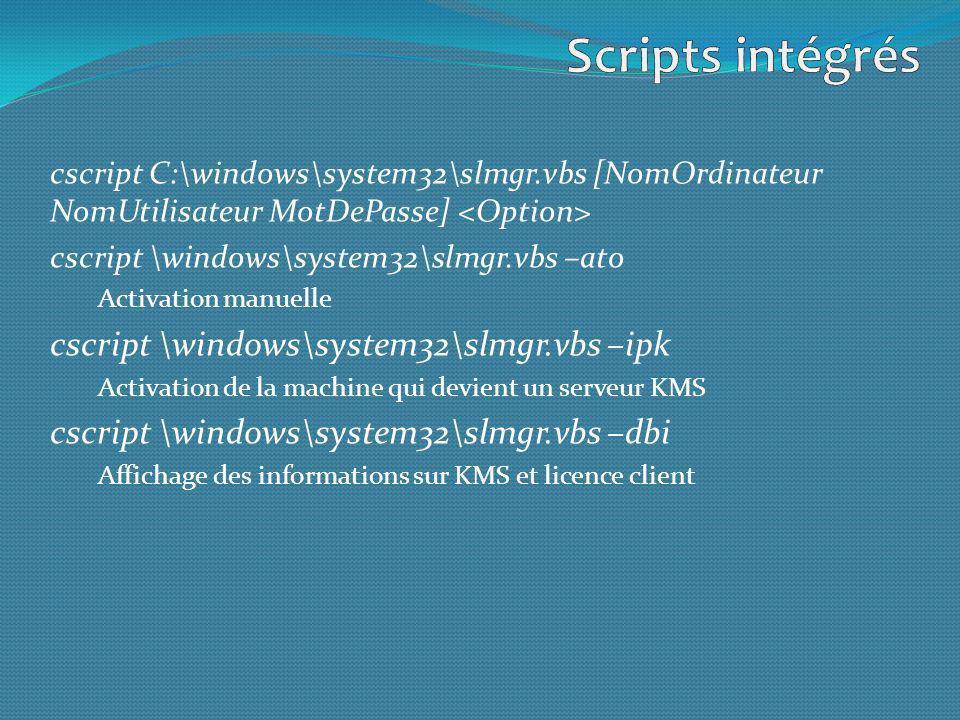Scripts intégrés cscript \windows\system32\slmgr.vbs –ipk