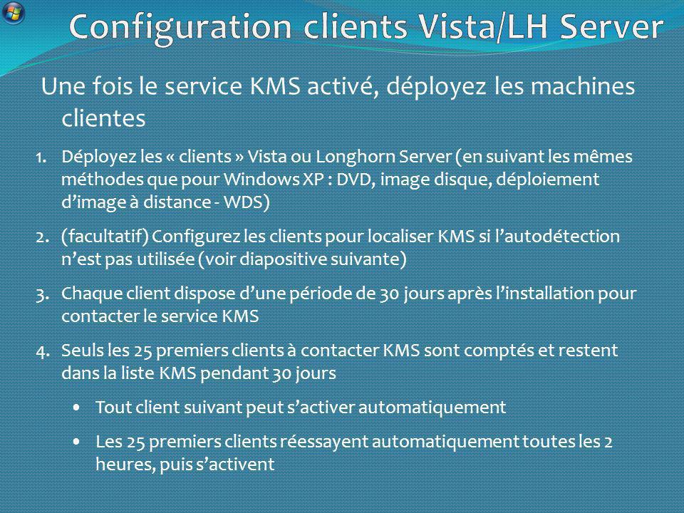 Configuration clients Vista/LH Server