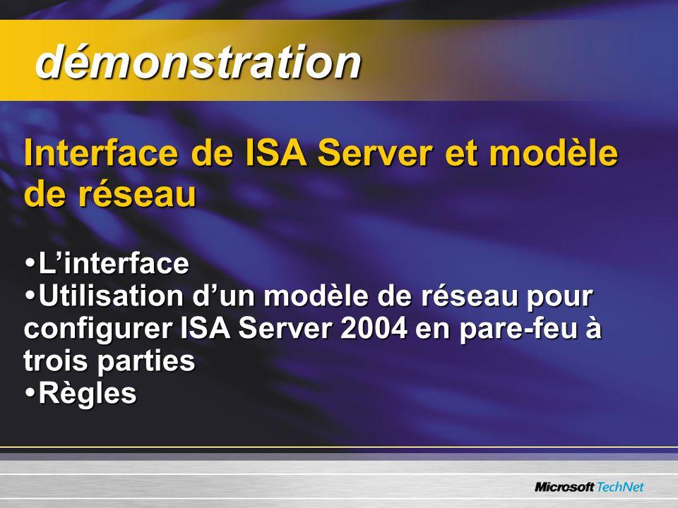démonstration Interface de ISA Server et modèle de réseau L'interface