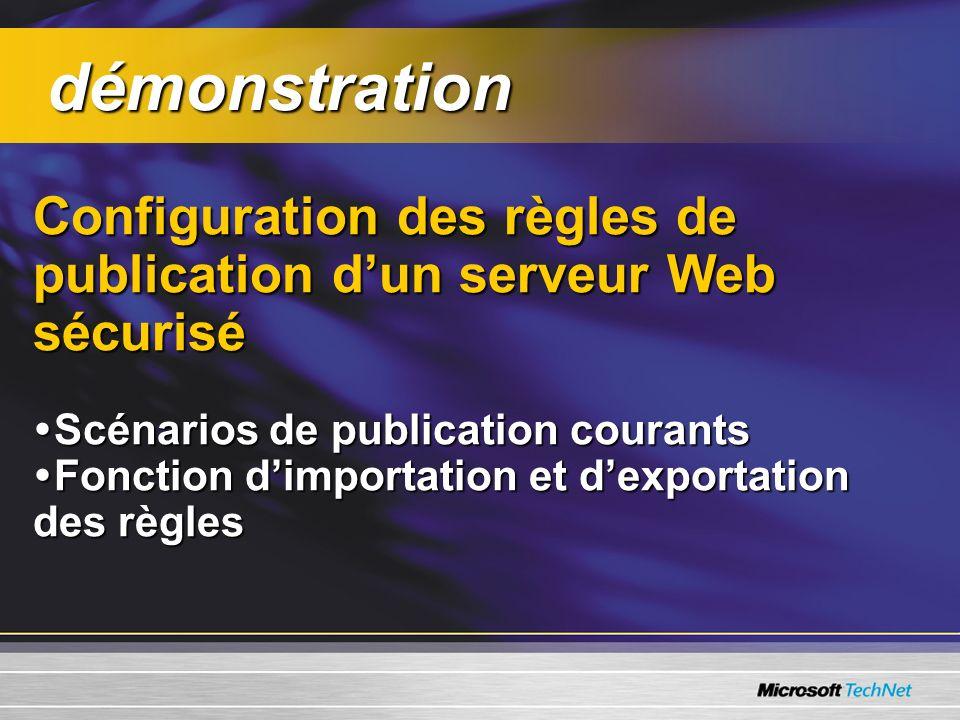 démonstration Configuration des règles de publication d'un serveur Web sécurisé. Scénarios de publication courants.