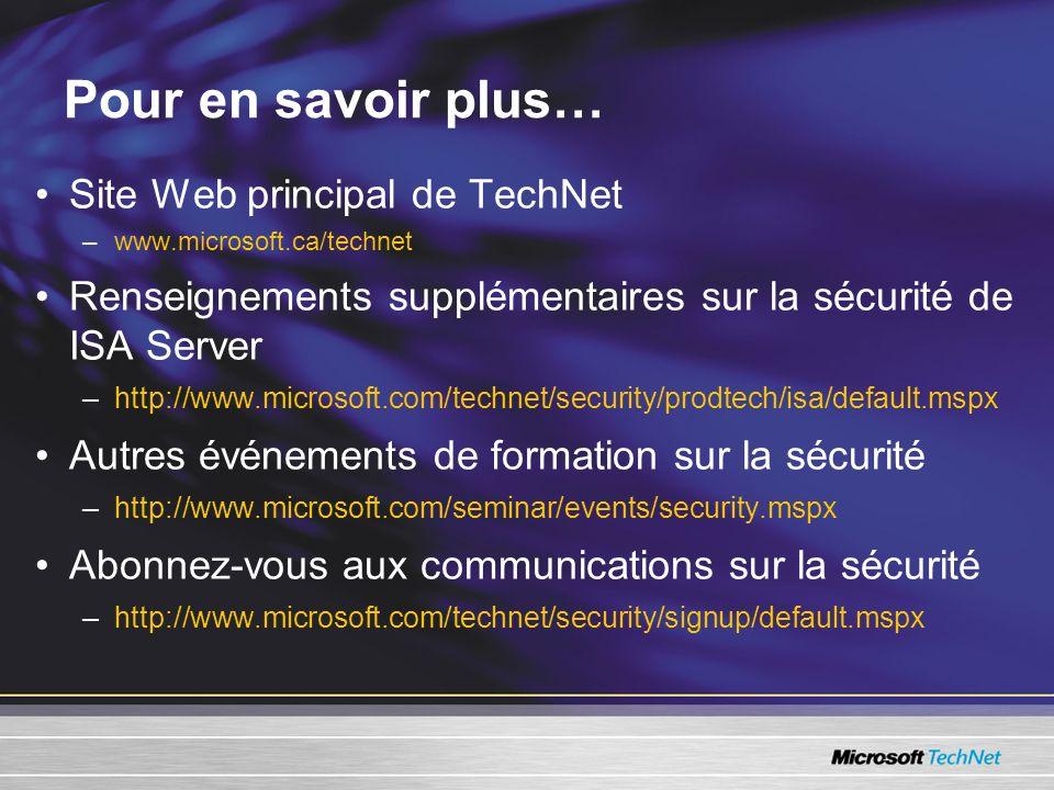 Pour en savoir plus… Site Web principal de TechNet