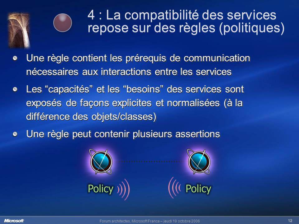4 : La compatibilité des services repose sur des règles (politiques)