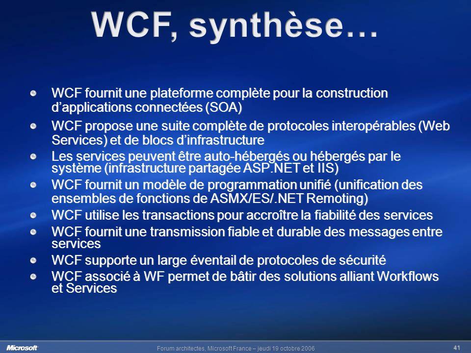 WCF, synthèse… WCF fournit une plateforme complète pour la construction d'applications connectées (SOA)