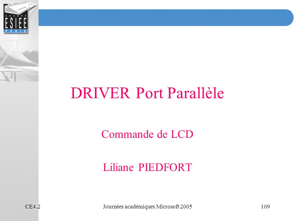 Commande de LCD Liliane PIEDFORT