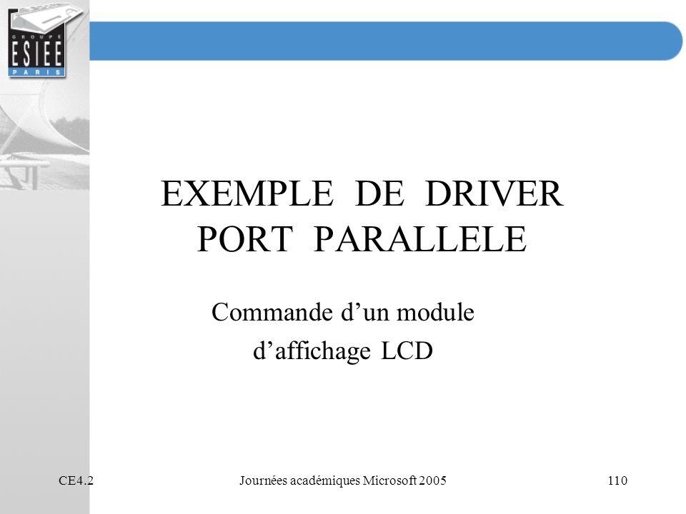 EXEMPLE DE DRIVER PORT PARALLELE