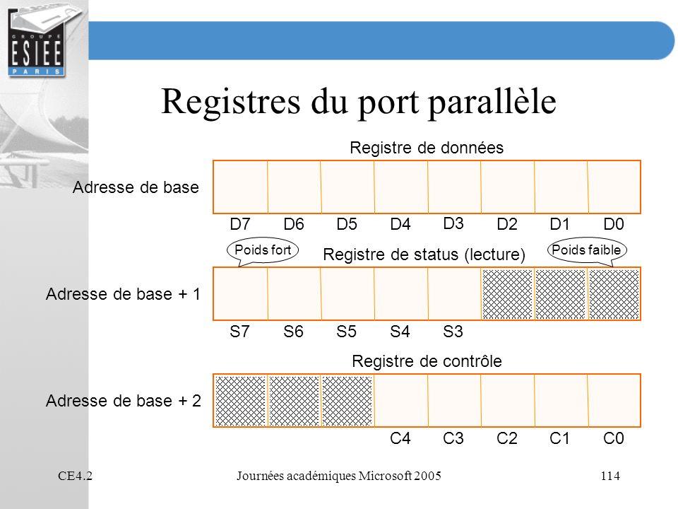 Registres du port parallèle