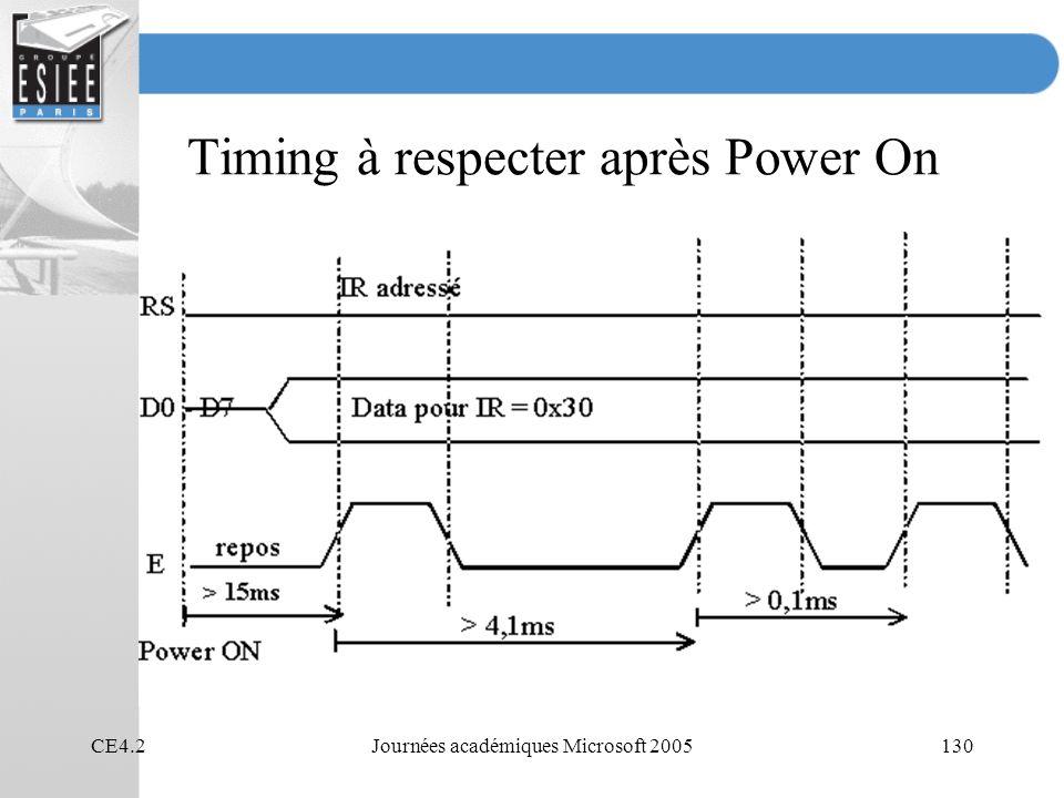 Timing à respecter après Power On