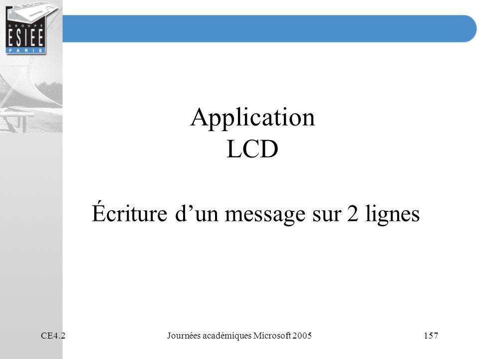 Application LCD Écriture d'un message sur 2 lignes