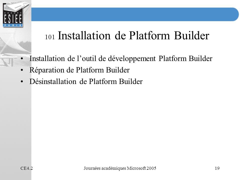 101 Installation de Platform Builder