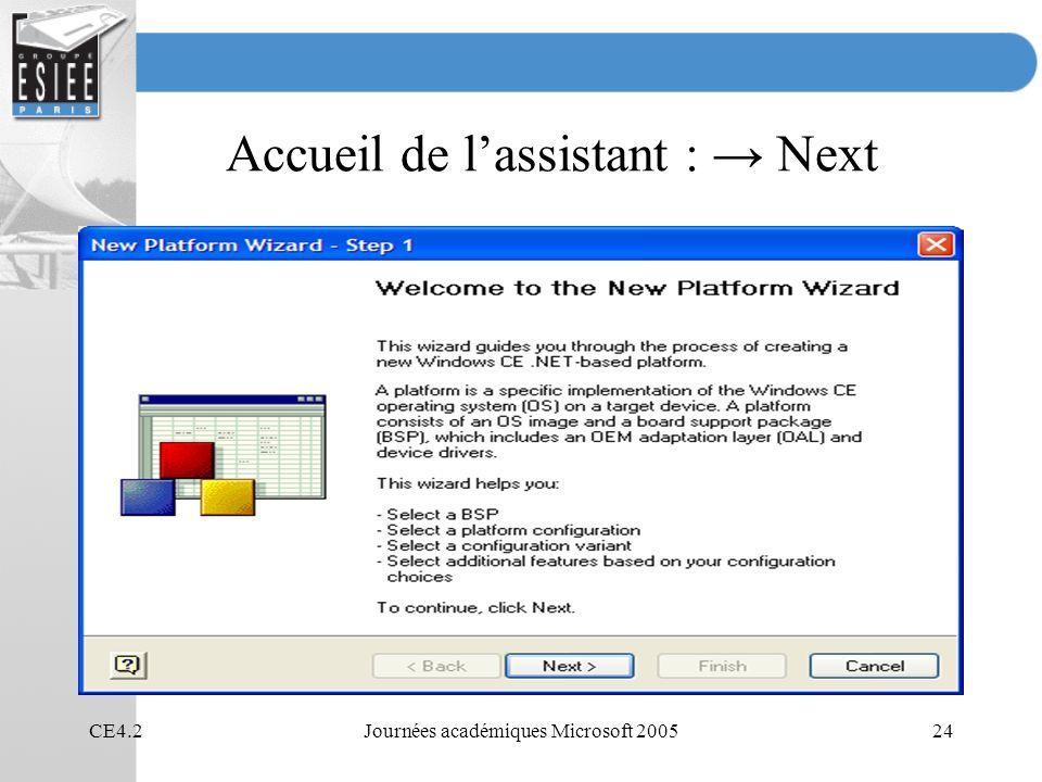 Accueil de l'assistant : → Next
