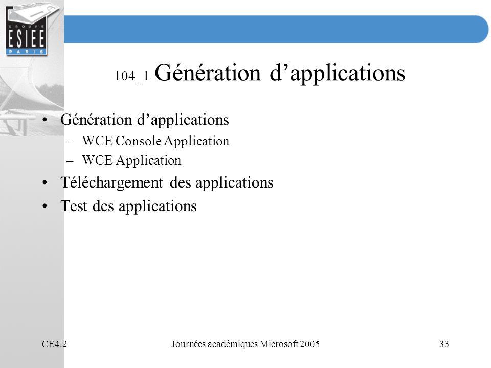 104_1 Génération d'applications