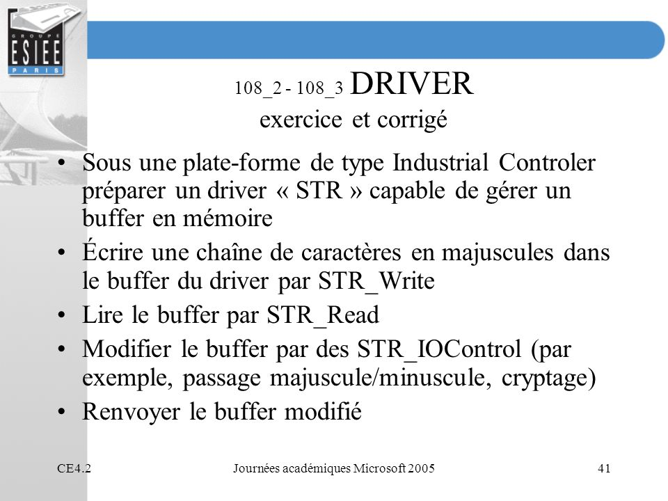 108_2 - 108_3 DRIVER exercice et corrigé